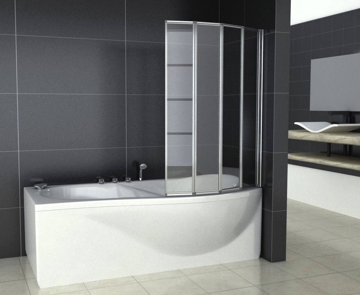 4 fold 800 x 1400mm folding shower glass bath screen. Black Bedroom Furniture Sets. Home Design Ideas